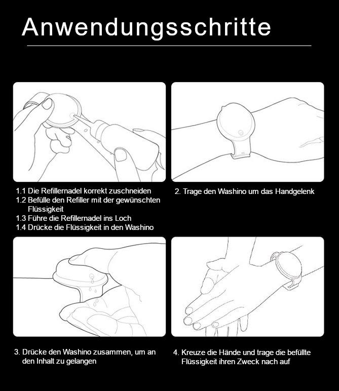 Anwendungschritte für Desinfektionsarmband bzw. Hygienearmband