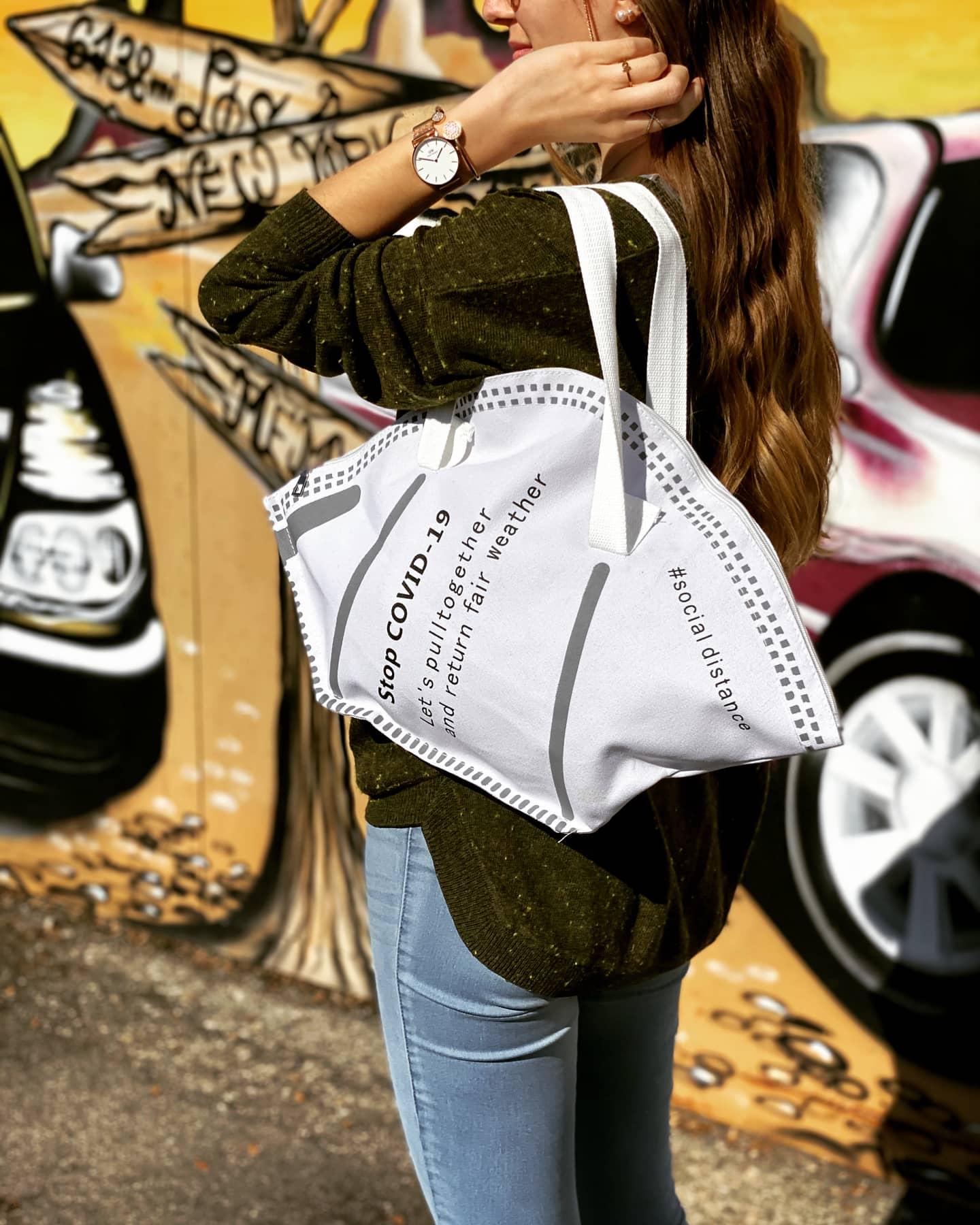 Handtasche zum Einkaufen, Shoppen - Design wie FFP2 Maske / Mundschutz M1