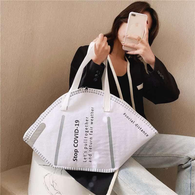 Handtasche zum Einkaufen, Shoppen - Design wie FFP2 Maske / Mundschutz mit M